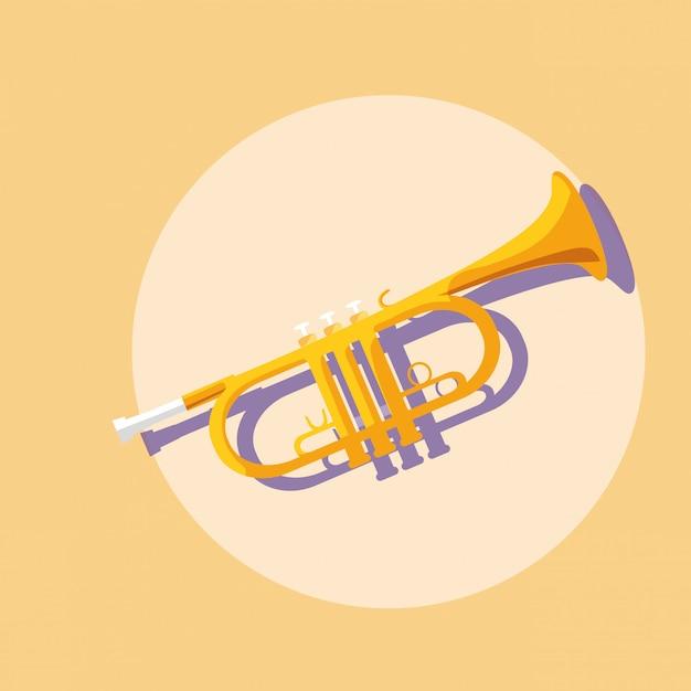 Musikinstrument für trompete Premium Vektoren