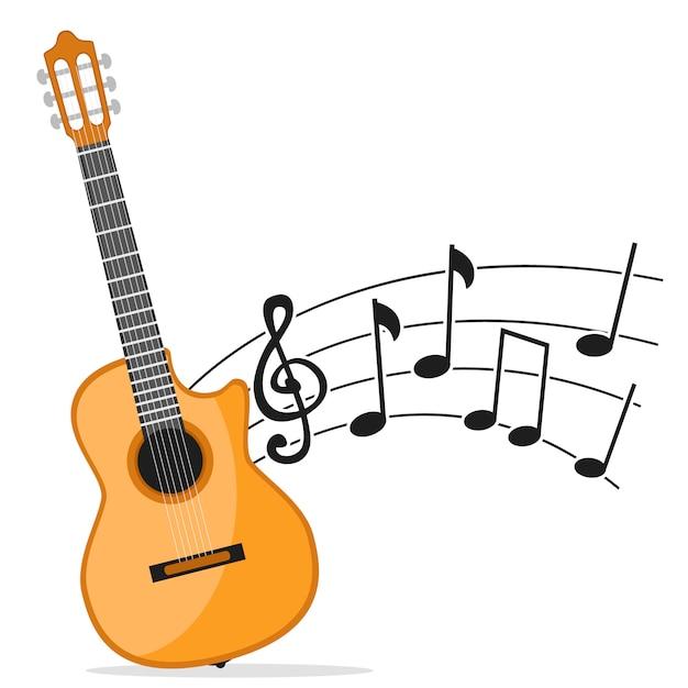 Musikinstrument gitarre und noten auf einem weißen hintergrund. gitarrenmusik Premium Vektoren