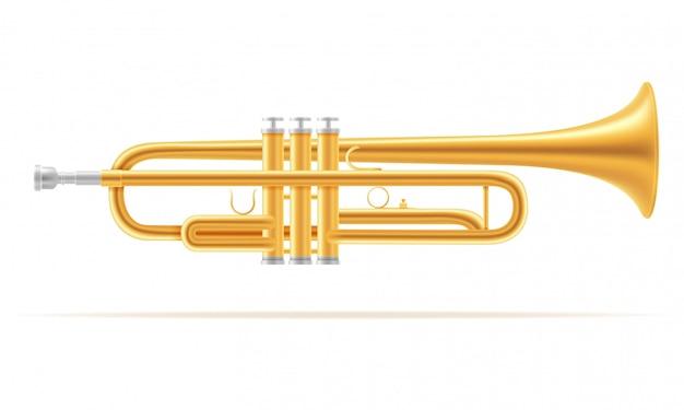 Musikinstrumente des trompetenwinds auf lager vektorillustration Premium Vektoren
