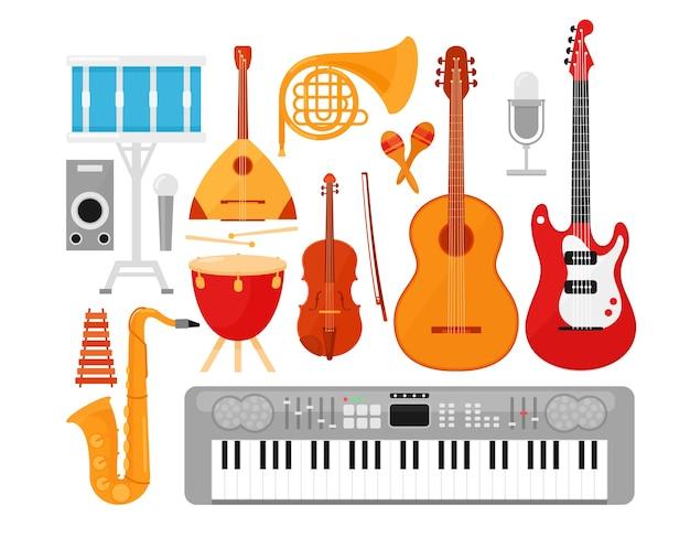 Musikinstrumente eingestellt. akustische und elektrische gitarren lokalisiert auf weißem hintergrund. Premium Vektoren