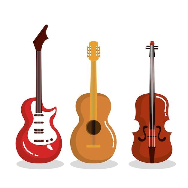 Musikinstrumente gitarren violine akustisch Premium Vektoren
