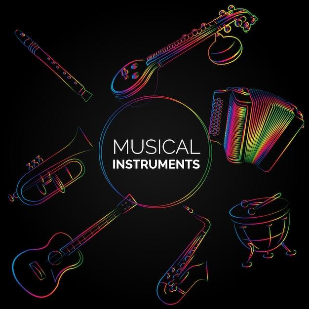 Musikinstrumente Hintergrund Design Kostenlose Vektoren