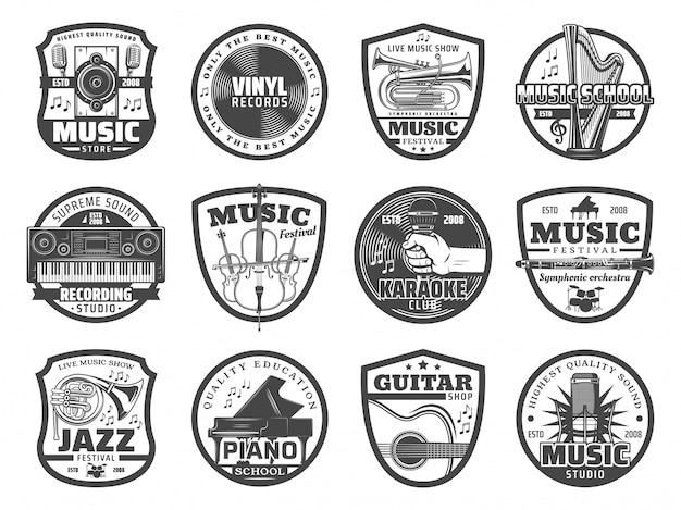 Musikinstrumente, mikrofone, schallplatten Premium Vektoren