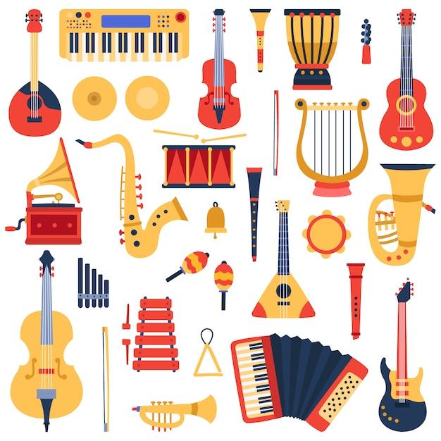 Musikinstrumente. musikalische klassische instrumente, gitarren, saxophon, trommel und violine, jazzband musikinstrumente illustration ikonen gesetzt. trommel und trompete, tamburin und soundklassiker Premium Vektoren