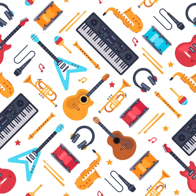 Musikinstrumente nahtlose muster. vintager klaviersynthesizer, rockgitarre und schlagzeug. musik flach Premium Vektoren