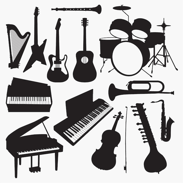 Musikinstrumente silhouetten Premium Vektoren