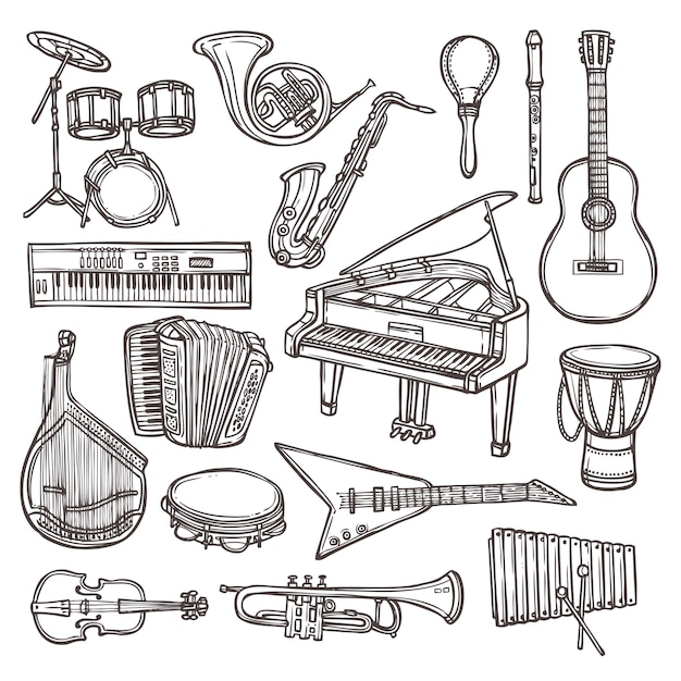 Musikinstrumente skizzieren gekritzel Premium Vektoren