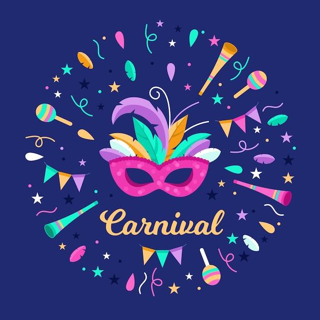 Musikinstrumente und konfetti karneval Kostenlosen Vektoren