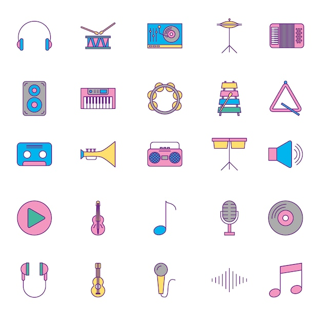 Musikinstrumente und set icons Kostenlosen Vektoren