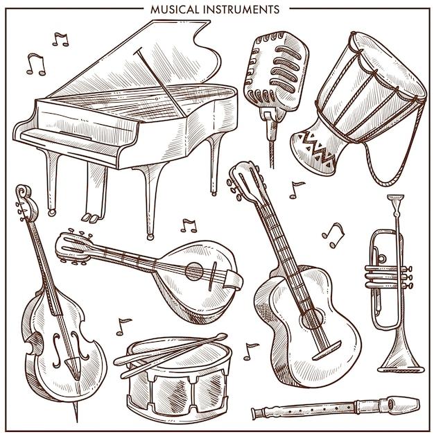 Musikinstrumente vector skizzenikonensammlung für klassische volksmusik oder jazz Premium Vektoren