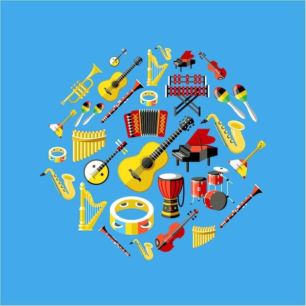 Musikinstrumentensammlung Kostenlosen Vektoren