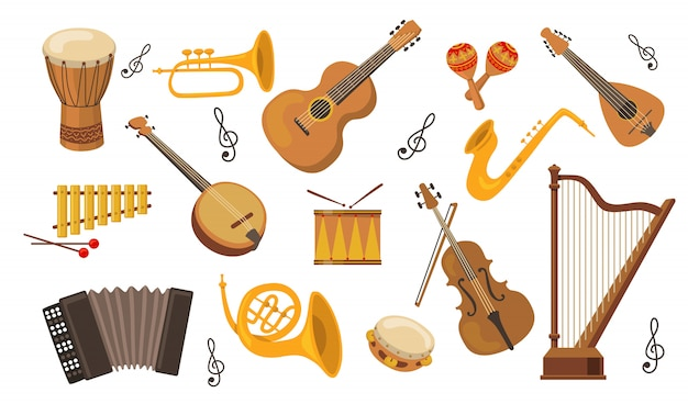 Musikinstrumentenset Kostenlosen Vektoren