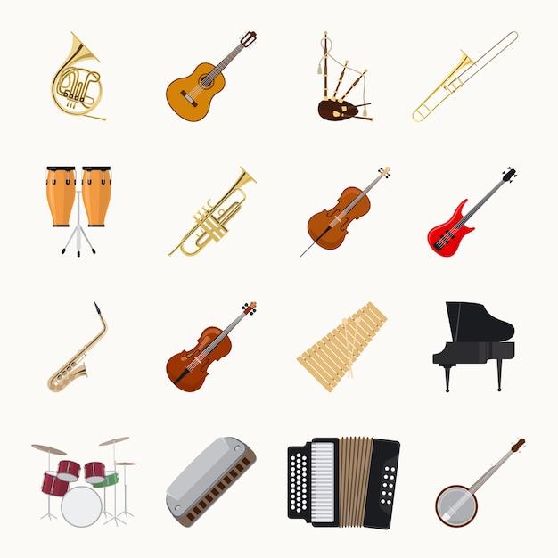 Musikinstrumentikonen lokalisiert auf weißem hintergrund Premium Vektoren