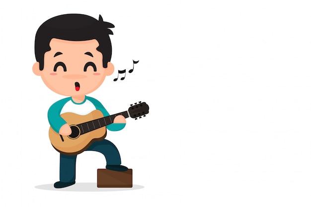 Musikjunge, der musik spielt und singt. Premium Vektoren