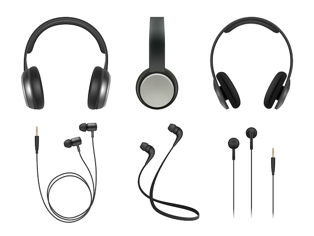 Musikkopfhörer. hochwertige elektronische artikel stereo-kopfhörer technologie vektor realistische bilder Premium Vektoren