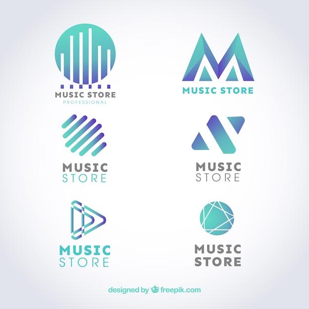 Musikladenlogosammlung mit flachem Design Kostenlose Vektoren