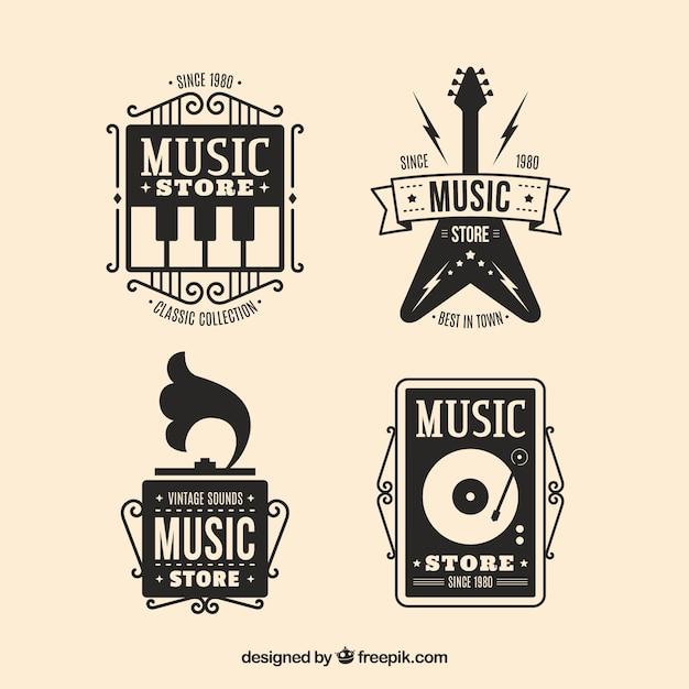 Musikladenlogosammlung mit flachem design Kostenlosen Vektoren