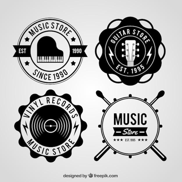 Musikladenlogosammlung mit weinleseart Kostenlosen Vektoren