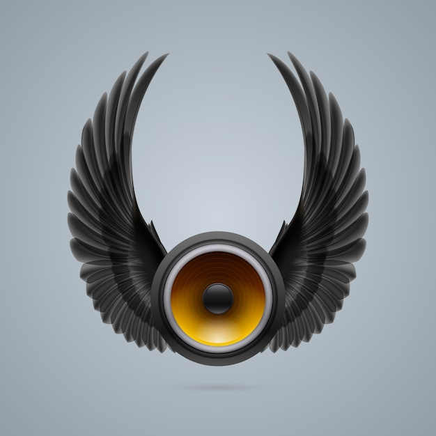 Musiklautsprecher mit zwei flügeln Premium Vektoren
