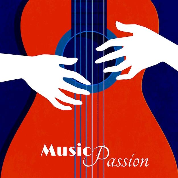 Musikleidenschaftsplakat mit rotem gitarrenschattenbild auf blauen hintergrund- und mannhänden auf flacher vektorillustration der schnüre Kostenlosen Vektoren