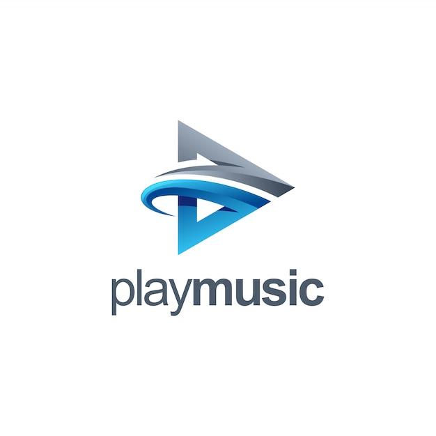 Musiklogo abspielen Premium Vektoren