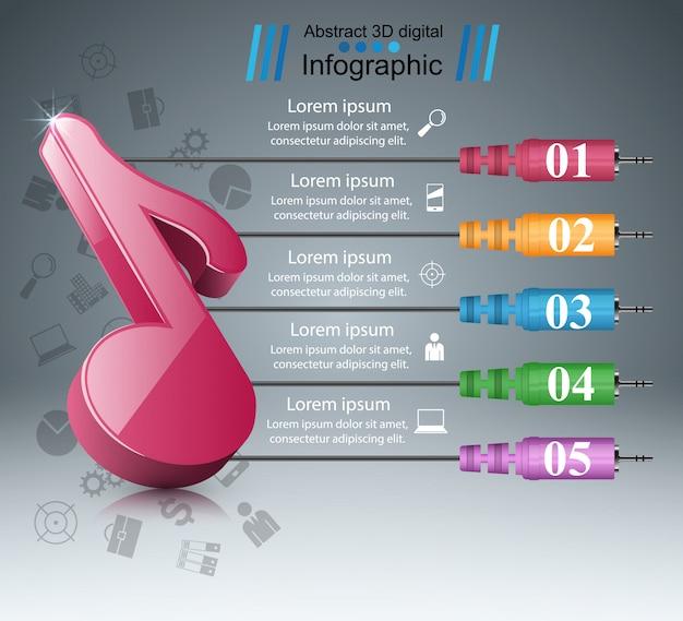 Musiknote - abstraktes geschäft infographik. Premium Vektoren