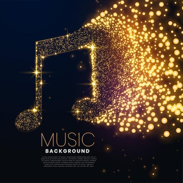 Musiknote gemacht mit leuchtendem partikelhintergrunddesign Kostenlosen Vektoren