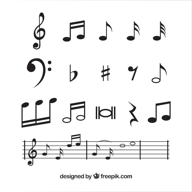 Musiknoten sammlung in flaches design Kostenlosen Vektoren