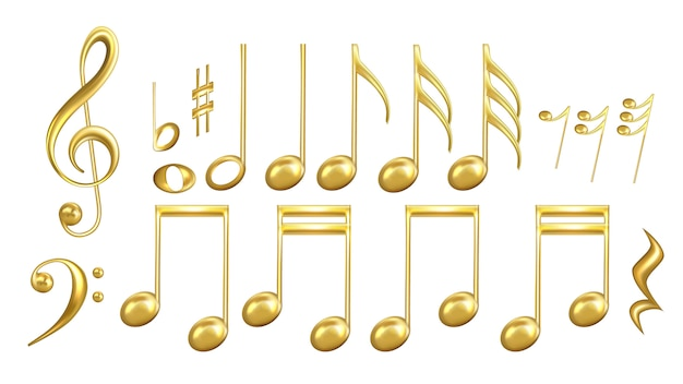 Musiknoten symbole in golden color set Premium Vektoren