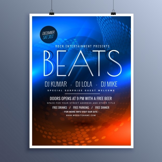 Musikparty Werbung Flyer Vorlage in blau und orange Farben ...