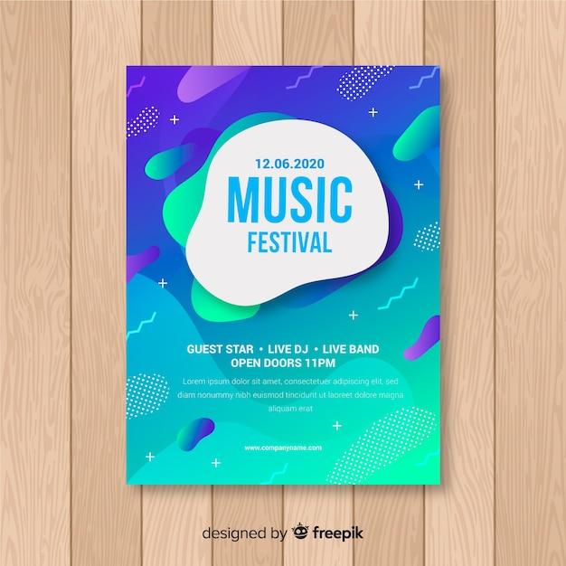 Musikplakatschablone mit flüssigem effekt Kostenlosen Vektoren
