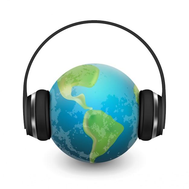 Musikplanetenerde mit den kopfhörern realistisch Premium Vektoren