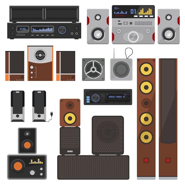 Musiksysteme eingestellt. Premium Vektoren