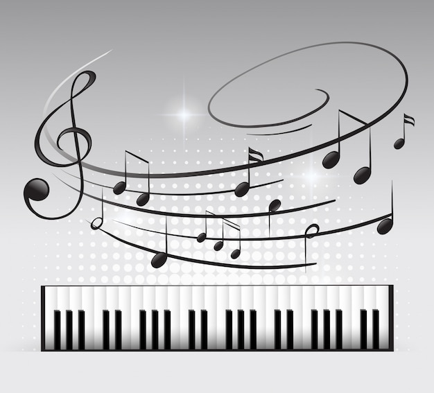 Musiktastatur und hinweis Kostenlosen Vektoren