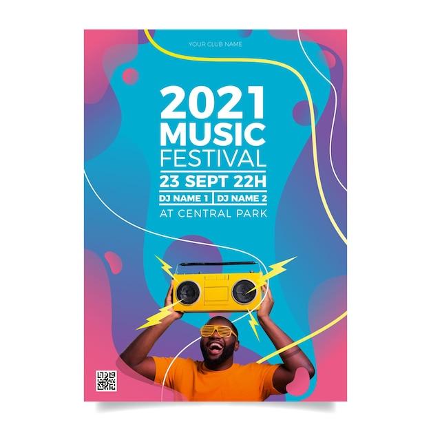 Musikveranstaltung im jahr 2021 plakat Kostenlosen Vektoren