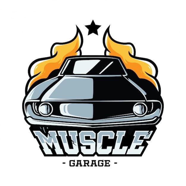 Muskel auto abzeichen Premium Vektoren