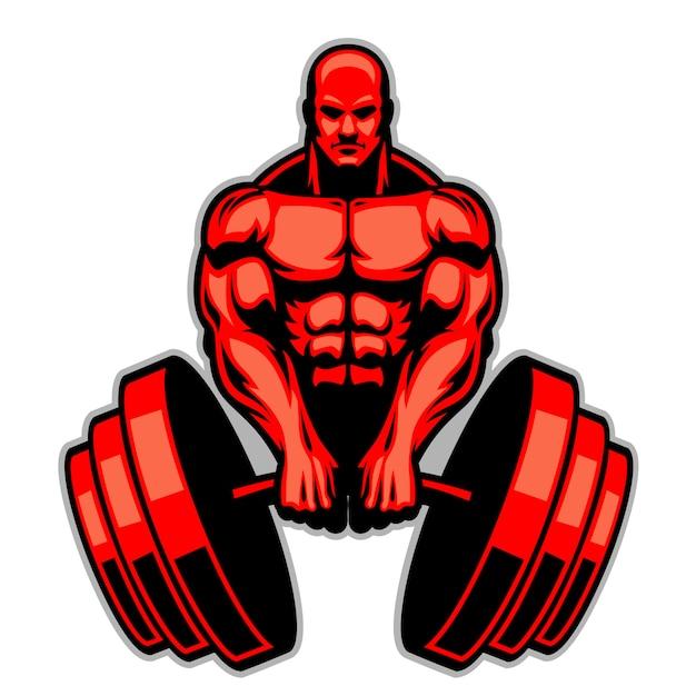 Muskelmannbodybuilder halten den enormen barbell Premium Vektoren