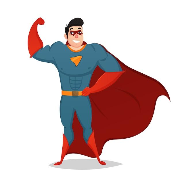 Muskulöser mann gekleidet im superheld-kostüm Kostenlosen Vektoren