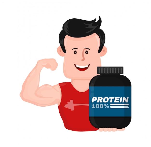 Muskulöser starker sporteignungsmann mit bank des proteins Premium Vektoren