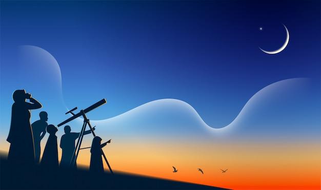 Muslim durchsucht den himmel mit einem fernglas nach dem neumond (hilal) hajj mabrour eid mubarak Premium Vektoren