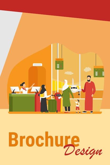 Muslimische familie, die am check-in-schalter im flughafen steht. paar mit kindern, die flache vektorillustration warten. internationales tourismuskonzept für banner, website-design oder landing-webseite Kostenlosen Vektoren