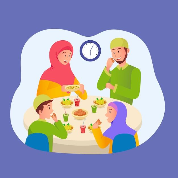 Muslimische familie isst iftar nach dem fasten im ramadan. familientreffen beim abendessen im ramadan Premium Vektoren