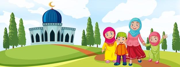 Muslimische familie vor der moschee Premium Vektoren