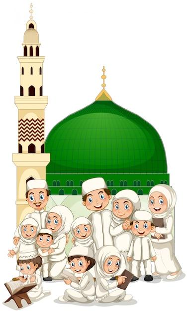 Muslimische familie vor der moschee Kostenlosen Vektoren