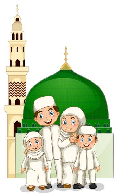 Muslimische familie Kostenlosen Vektoren