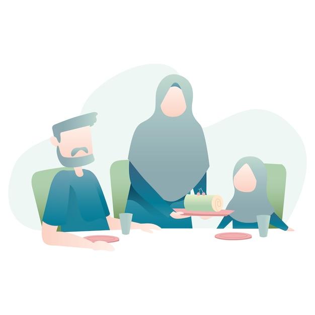 Muslimische familie Premium Vektoren