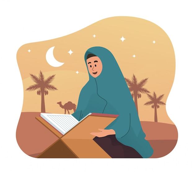 Muslimische frau, die heiligen koran liest Premium Vektoren