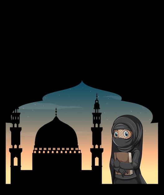 Muslimische frau im schwarzen kostüm Kostenlosen Vektoren