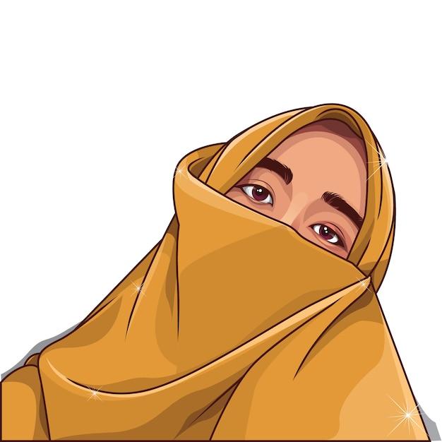 Muslimische frau vektor-illustration Premium Vektoren