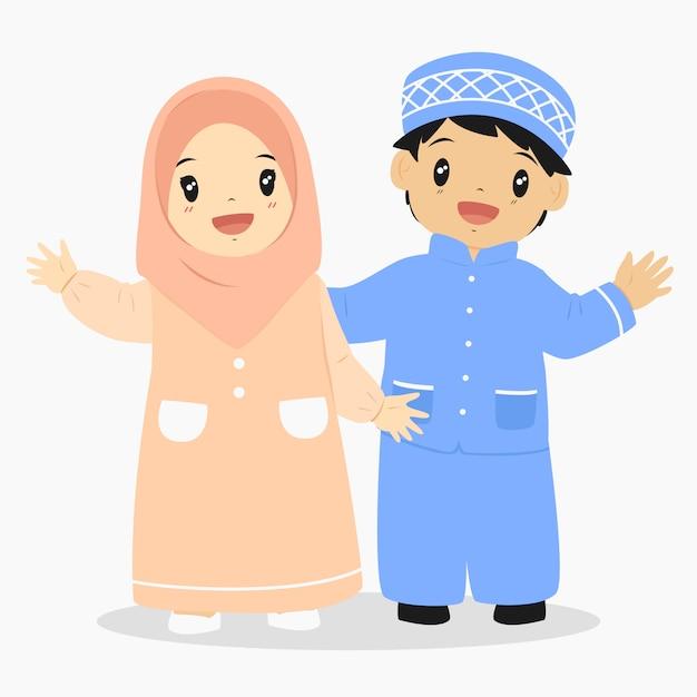 Muslimische kinder zeichen vektor Premium Vektoren